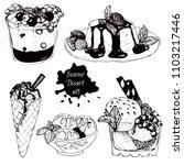 set of tasty desserts  tiramisu ... | Shutterstock .eps vector #1103217446