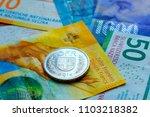 switzerland money banknotes and ... | Shutterstock . vector #1103218382