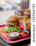 delicious fresh homemade burger ... | Shutterstock . vector #1103241782
