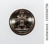 Small photo of A quarter dollar (25 cents) coin with the image of Hot Springs National Park, Arkansas, USA