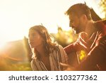 cute couple having fight on the ...   Shutterstock . vector #1103277362