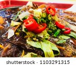 sizzling noodle with mushroom ... | Shutterstock . vector #1103291315