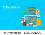 traveler's accessories.... | Shutterstock .eps vector #1103308202