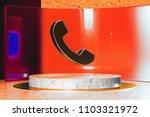 golden phone icon on white...