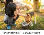 a girl take care her own lovely ... | Shutterstock . vector #1103349095