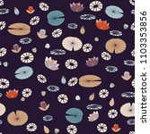 stylized water lilies pattern... | Shutterstock .eps vector #1103353856
