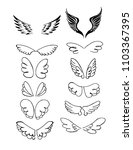 set of wings hand drawn vector | Shutterstock .eps vector #1103367395