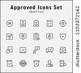 thin line icons set of approved ... | Shutterstock .eps vector #1103372162