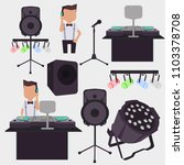 young female dj mixing music on ...   Shutterstock .eps vector #1103378708