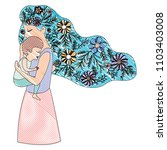 mother lifting son with floral... | Shutterstock .eps vector #1103403008