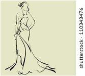 art sketching of beautiful...   Shutterstock .eps vector #110343476