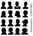 set of silhouettes of heads 8 ... | Shutterstock .eps vector #110347802