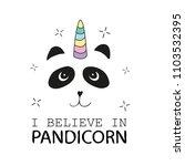 pandicorn with rainbow mane on... | Shutterstock .eps vector #1103532395