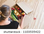 vegetables grocery box  woman... | Shutterstock . vector #1103535422