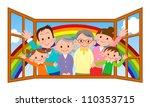 happy family in open window | Shutterstock . vector #110353715