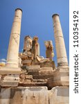 EPHESUS, TURKEY June 2008 Columns and statues at the historical site Ephesus Turkey June 26 2008.  Ephesus was an ancient Greek city and one of the largest cities in the Mediterranean world. - stock photo