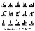 black factory icons set   Shutterstock .eps vector #110354285