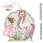 cute unicorn with girl | Shutterstock .eps vector #1103545478