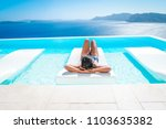 young woman at an luxury... | Shutterstock . vector #1103635382
