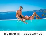 santorini greece happy couple... | Shutterstock . vector #1103639408
