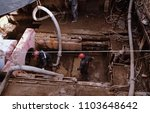 Small photo of Irkutsk, Russia - March 24, 2017: Workers work on pipeline operations. Pipe penetration.