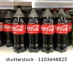 Small photo of Kuala Lumpur, Malaysia - May 20, 2018: Bottles of Coca-Cola drink from the Coca-Cola Company in a supermarket.