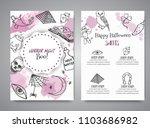 hand drawn halloween brochure... | Shutterstock .eps vector #1103686982