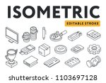 isometric flat line icon set.... | Shutterstock .eps vector #1103697128
