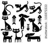 Stock vector set of black and white animals 110372222