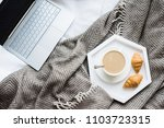 cozy weekend at home  laptop... | Shutterstock . vector #1103723315