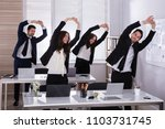 happy businesspeople doing... | Shutterstock . vector #1103731745