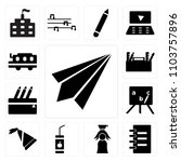 set of 13 icons such as paper...