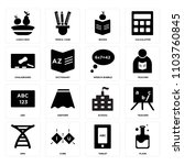 set of 16 icons such as flask ...