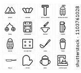 set of 16 icons such as coffee... | Shutterstock .eps vector #1103761028