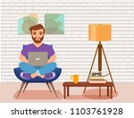 freelancer happy young men... | Shutterstock .eps vector #1103761928