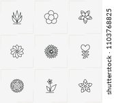 flowers line icon set with  and ... | Shutterstock .eps vector #1103768825