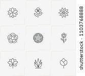 flowers line icon set with  and ... | Shutterstock .eps vector #1103768888