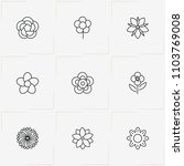 flowers line icon set with... | Shutterstock .eps vector #1103769008