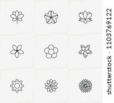 flowers line icon set with  and ... | Shutterstock .eps vector #1103769122