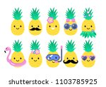 pineapple cute characters set... | Shutterstock .eps vector #1103785925