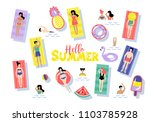 pool party banner design with... | Shutterstock .eps vector #1103785928