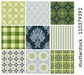 set of nine colorful seamless...   Shutterstock .eps vector #110379392