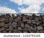 gabion fence wall from steel... | Shutterstock . vector #1103795105