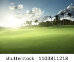spring grass  golf field | Shutterstock . vector #1103811218