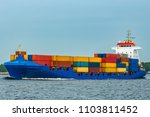 blue cargo container ship fully ... | Shutterstock . vector #1103811452