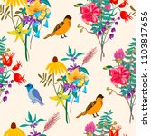 bird and flowers. vintage... | Shutterstock .eps vector #1103817656