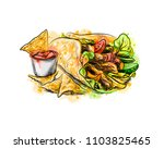 mexican food. chips with a... | Shutterstock .eps vector #1103825465