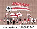 english football fans cheering... | Shutterstock .eps vector #1103849765