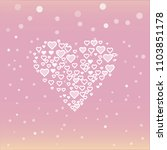 romantic heart white contour on ... | Shutterstock .eps vector #1103851178
