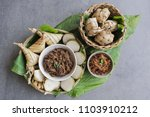 popular food for breaking fast... | Shutterstock . vector #1103910212